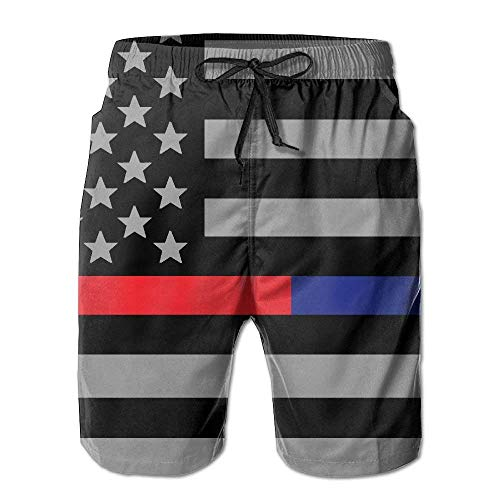 khgkhgfkgfk Thin Red and Blue Line American Flag Men's Board Shorts Beach Swim Trunks Beachwear Summer Shorts XX-Large