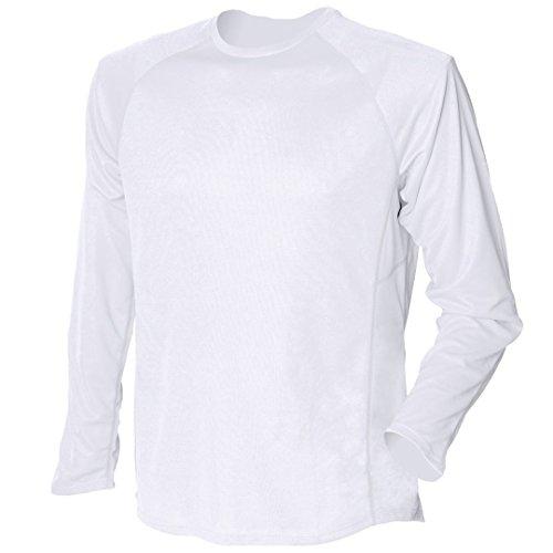 Tombo Teamsport Sport d'équipe manches longues Aridus-Dri t-shirt course Blanc