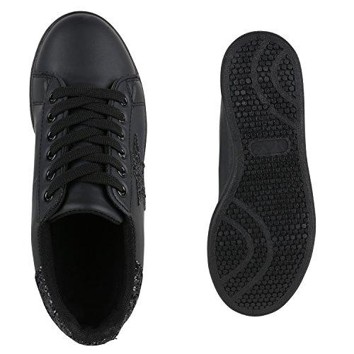 a1e2a86e4425be ... Damen Sneakers Sportschuhe Schnürer Lack Lederoptik Schuhe Schwarz  Schwarz Avelar