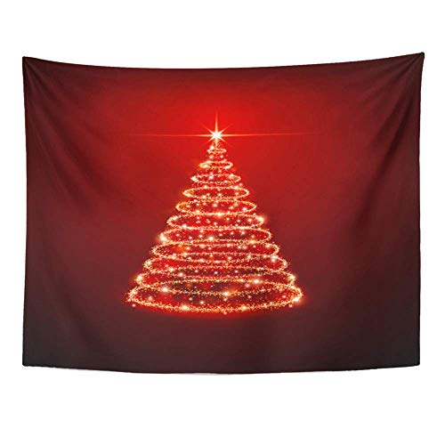 lection, Wall Tapestry, Tapestry Wall Hanging, Art Decor Wall, Xmas Christmas Tree on Red Glow Light Star 60