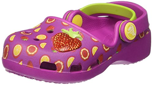 crocs Mädchen Karinnvltyclgk Clogs, Violett (Vibrant Violet/Tangerine), 27-28 EU