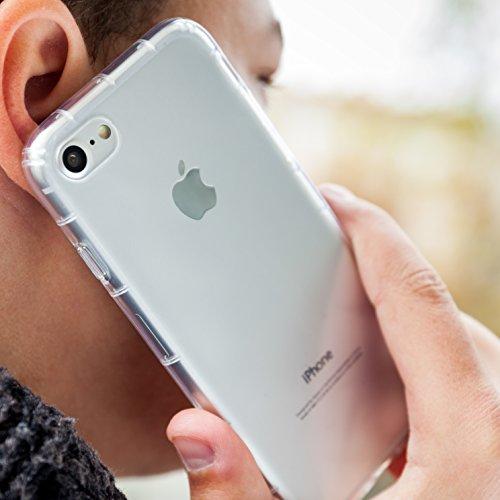 MyGadget Flip Case Hülle für Apple iPhone 7 mit Kartenfach und Standfunktion Klapphülle aus Kunstleder (PU) Schutzhülle Wallet Book Cover - Schwarz Crystal Case Transparent