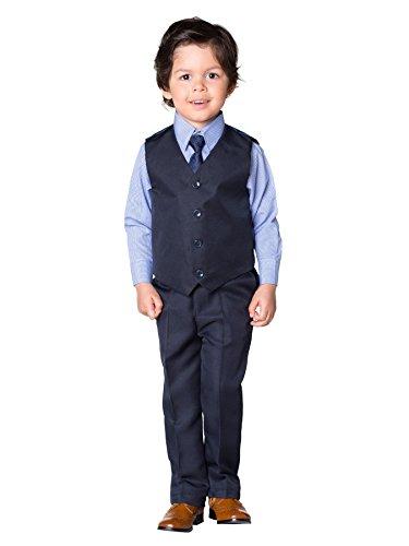 Shiny Penny, Marineblau Jungen Vichy Kostüm, Kostüm Weste Jungen, Kostüm Jungen Stinkefinger, 3–6Monate–8Jahre Gr. 12-18 Monate, Vichy bleu (Avec Kostüm Gilet)