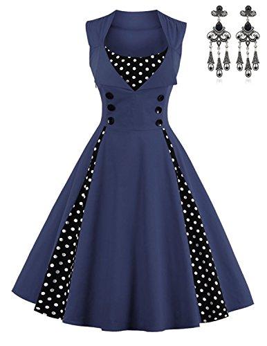 Modetrend Femmes Rétro Robe Sans Manche Robe de Soirée Cocktail Dos Nu Vintage Elégante Année 50 Audrey Hepburn Style Robe avec Boutons Bleu foncé