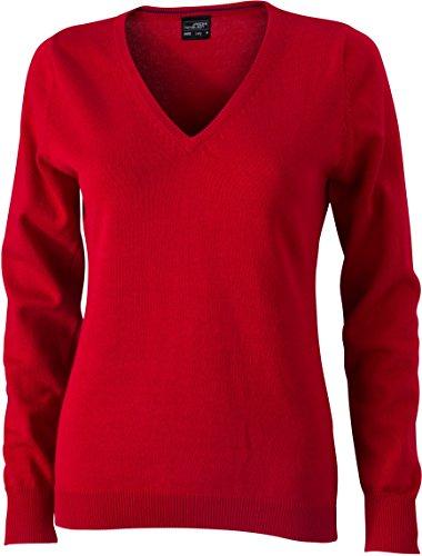 Ladies' V-Neck Pullover - taillierter Damen V-Neck Pullover XL,Red