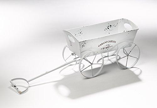 Blumenbank Blumentopf Metallleiterwagen Pflanzgefäß Leiterwagen Metall weiß