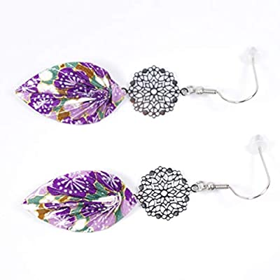 Boucles d'oreilles feuilles origami violettes et vertes avec rosace - crochets inox