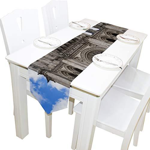 te Amiens Kathedrale Kirche Kommode Schal Tuch Abdeckung Tischläufer Tischdecke Tischset Küche Esszimmer Wohnzimmer Home Hochzeitsbankett Dekor Indoor 13x90 Zoll ()