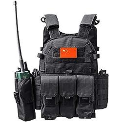 Xinwcang Chaleco Táctico Militar al Aire Libre Juego de Guerra Caza Tank Vest Combate Asalto Placa Camuflaje Vests para Camping Viaje Hiking Negro One Size
