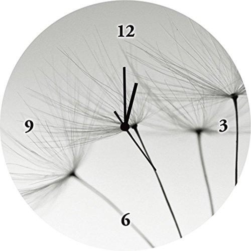 Artland Wand-Analog-Funk-Quarz-Uhr Digital-Druck auf Echt Glas mit Motiv Gorilla Pusteblumen-Samen Botanik Blumen Pusteblume Fotografie Grau A5RB 3