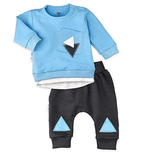 Baby Sweets Set Shirt Hose Jungen blau grau | Motiv: Triangle | Baby Outfit 2 Teile für Neugeborene & Kleinkinder | Größe: 3-6 Monate (68)...