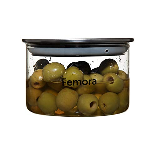Femora Borosilicate Glass Air Tight Trend Jars With Silver Metalic Lid For Kitchen, 550ml