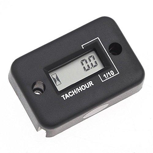 RETYLY wasserdichte Digitaltachometer Drehzahlmesser LCD Stundenzaehler Fuer 4-Takt-Benzinmotor Motorrad ATV Schneemobil-Boot Schwarz