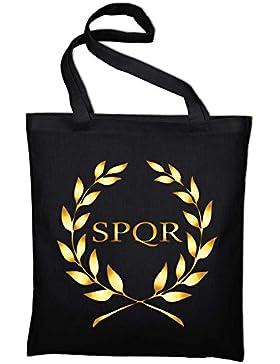 SPQR Rom Wappen Banner Logo Jutebeutel, Beutel, Stoffbeutel, Baumwolltasche