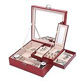 Boîte à Bijoux Basuwell avec Miroir Grand Organiseur à Bijoux Mallette/ Coffrets/ Boîte à Maquillage Anneaux de Boucles d'oreilles Collier Bracelets de Bijoux Boîte de Rangement Rouge
