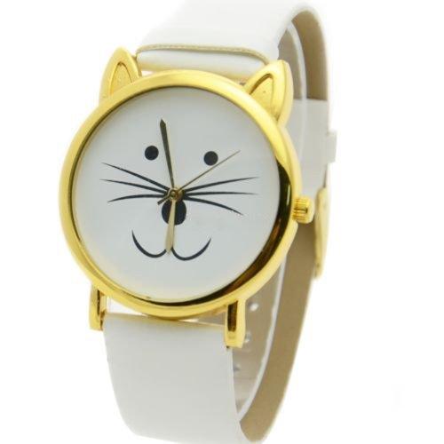 Reizende nette Katze-Gesichtsform Mädchen Zifferblatt Gold Alloy Rim Beard Faux Leder Uhr Armbanduhr Weiß Gold Rim Band