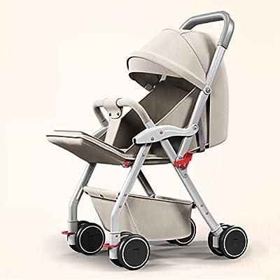 WLYL Cochecito de bebé Puede Sentarse y tumbarse Cochecito Plegable Ligero de absorción de Choque,Natural
