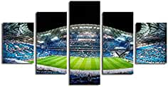 La Vie 5 Partes Imágene Impresión en Lienzo Foto Estadio de Fútbol Pintura al óleo para