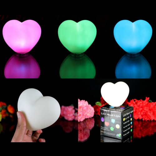 3 Heart Lights Battery Operated for Bedroom - Colour Changing Glow Mood Lamps Romantic Valentine's Gifts by PK Green