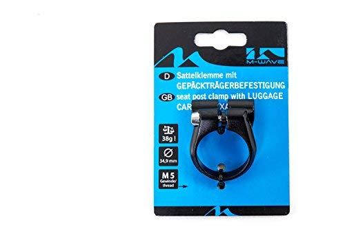 Sattel Schelle Klemme M-Wave mit Gepäckträger Befestigung Ösen 34,9mm Alu schwarz -