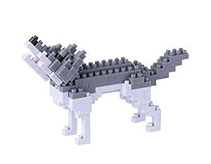 Unbekannt Nanoblock 14939-Gris Lobo 3D Puzzle-Mini colección (130Piezas) (Nivel de dificultad 2(tamaño Mediano)