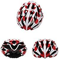 Flowerrs Casco Scooter Casco de Bicicleta de Ventilación para Hombres, Mujeres, Poroso Casco de Bicicleta de Una Pieza (Blanco + Rojo) Skate Helmet