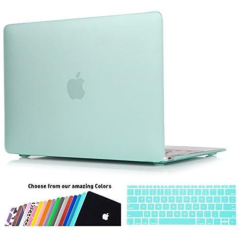 MacBook 12 Retina Hülle Case,iNeseon Ultra Slim Plastik Hartschale Tasche Cover Shell, US Hellgrün und EU Transparent Tastatur Abdeckung Schutzhülle für Apple MacBook 12 Zoll mit Retina Display [Modell:A1534] (Hellgrün)