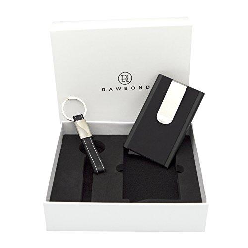 Leder-schlüsselanhänger-befestigung (Rawbond Kreditkartenetui mit RFID & NFC Schutz, Kartenetui inklusive Schlüsselanhänger für bis zu 7 Karten)
