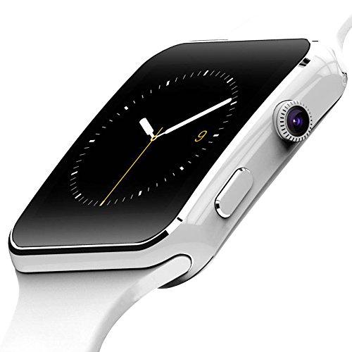 [ Smartwatches ]-FLOVEME 1,54 Pulgadas Bluetooth Móviles Reloj Soporte de Tarjeta SIM Tarjeta TF Extensión Smartwatches con Cámara Twitter Facebook Sync para Compatible con Android,Blanco