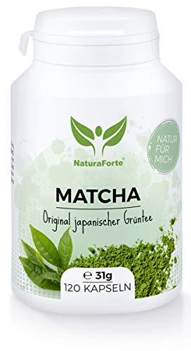 NaturaForte Matcha Grüntee Kapseln 120 Stück, 2 Monate Vorrat - 100{f0a553bff42516dd49fe186dbed00a4d8245a9f81270e80185f94296306fd5f9} Grüner Tee Extrakt, Natur Pur aus Japan, Vegan, Natürliches Koffein, Energie für den Tag, Alternative zu Kaffee, Ohne Zusatzstoffe