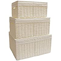 3 unidades, de Arpan, cesto de mimbre con tapa y forro blanco