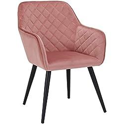 Duhome Sedia da Sala da Pranzo in Tessuto (Velluto) Rosa Design Retro con Piedini in Metallo Sedia Imbottita Poltrona Vintage poltroncina Selezione Colore 8058