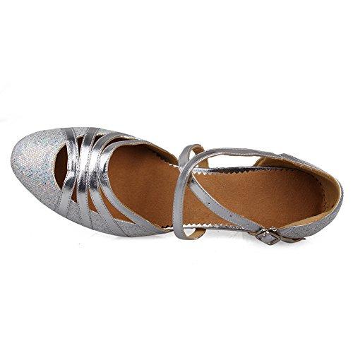 SWDZM Donna Scarpe da ballo/Scarpe da ballo latino standard Leather Ballroom Model-IT512 Argento