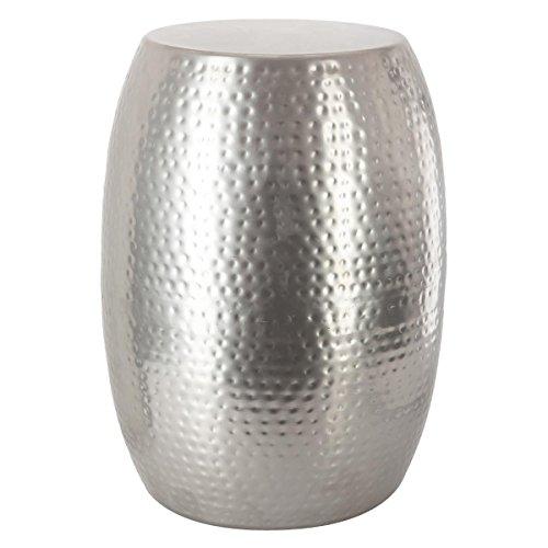 Table basse Guéridon en métal martelé robuste - Chic & Design - Coloris GRIS ARGENT