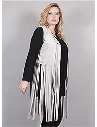 Edmond Boublil - Vêtement Femme Grande Taille Gilet gris à franges