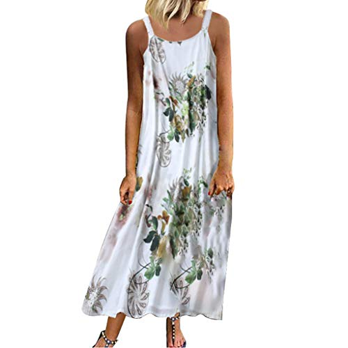 Longzjhd Vintage Maxi Dress pour Femme Sexy Dress sans Manches O Neck Robe Plus Size Maxi Dress Carreaux Imprimé Robe BohèMe Robe Robe Longue Boho Col Rond Robe De Plage Floral