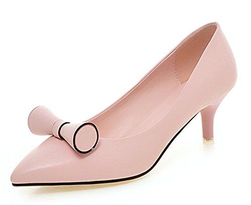 Aisun Damen Süß Schleife Kunstleder Spitze Zehen Kitten-Heel Ohne Verschluss Pumps Pink