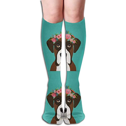 Women's Fancy Design Stocking Boxer Dog With Cut Lines Dog Panel, Dog, Cut And Sew Floral Multi Colorful Patterned Knee High Socks 19.6Inchs