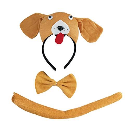 Mops Kinder Kostüm - STOBOK Kindertierkostüme Hundekostüme für Kinder Mops Kostüm Stirnband Krawatte Schwanz Set
