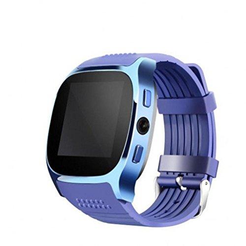 squarex New T8BT3.0Smart Watch unterstützt SIM und TFcard Kamera für Android für iPhone, Damen, blau, AS Show