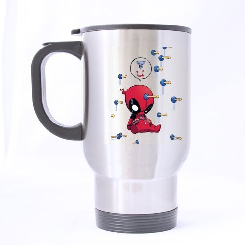 Bloody Baby Deadpool Custom Design Silver Travel Mug(Tasses à café) Sports Bottle Coffee Mug(Tasses à café)s Office Home Cup 14 OZ Two Sides Printed