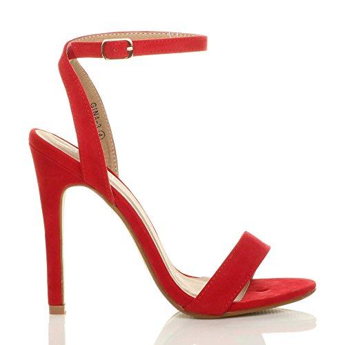 Donna alto tacco partito quasi lì fibbia con cinturino sandali scarpe numero Rosso Scamosciata