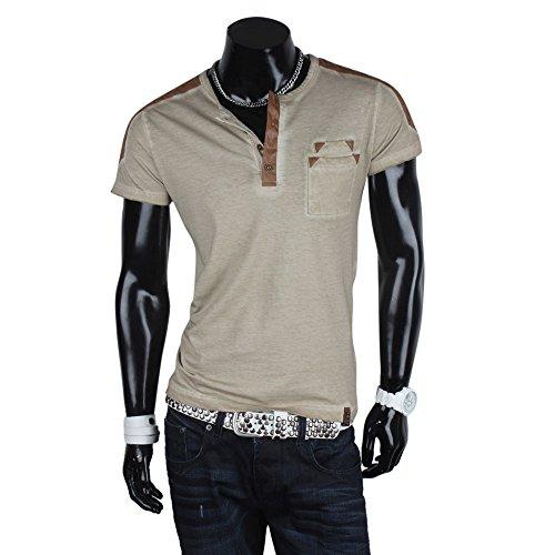 Tazzio Herren T-Shirt Shirt Tee Hemd Sommer Freizeit Stein