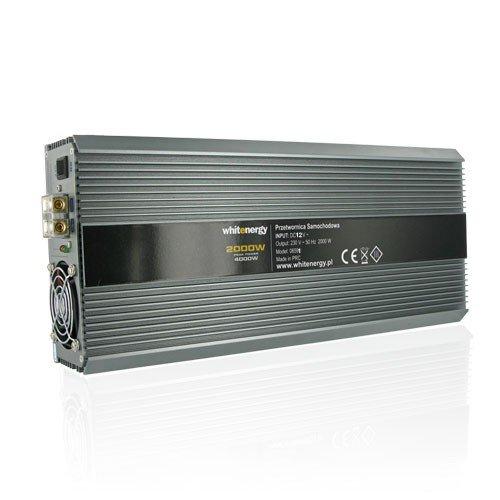 WHITENERGY® Softstart Wechselrichter Spannungswandler DC 12V auf AC 230V 2000W Dauer / 4000W Spitze (modifizierter Sinus) Inverter Voltage Converter mit 2 Universalen AC Ausgängen