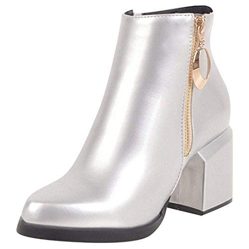 3d05ef87f07c20 Artfaerie Damen High Heels Blockabsatz Ankle Boots mit Reißverschluss  Plateau Lack Stiefeletten.
