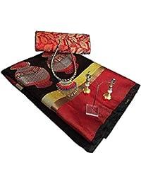 Audacious Women's Cotton Silk Designer Saree With Blouse Piece, Pendant & Necklace (Black_Free Size)