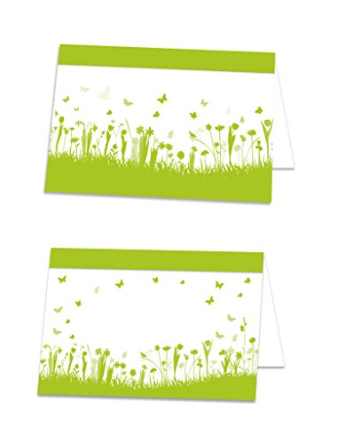 50 Stück hell-grün mai-grüne sommerliche Blümchen Tischkarten Namens-Schilder Namens-Kärtchen Tisch-Aufsteller Preisschilder Sitzkarten Platzkarten - mit JEDEM Stift beschreibbar!