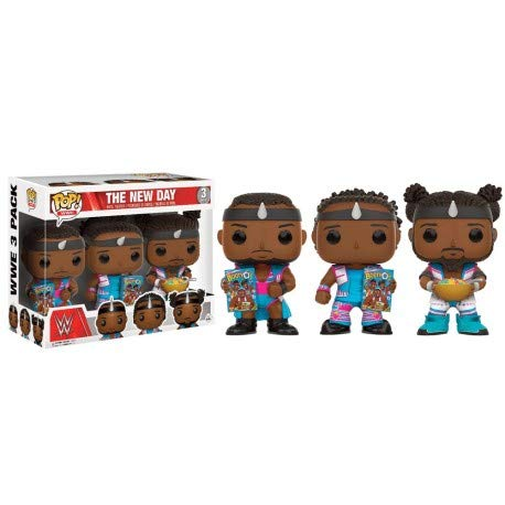 Funko 13669 – WWE Wrestling, Pop Vinyl Figure 3-Pack The New Day Booty OS