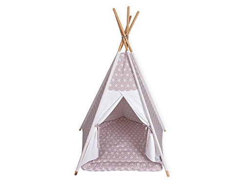 KraftKids Spielzelt-Tipi Uniweiss weiße Diamante auf Cameo Rosa, Indianer-Zelt zum Spielen für Kinder, Kleinkinder und Babys, inkl. Spielmatte -