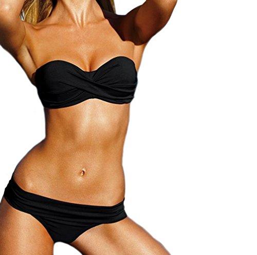 MEISHINE® Elegant Damen Frauen Bandeau Bikini Set Push Up Bademode Badeanzug (DE 38-40, Schwarz 2) (Schwarzes Bandeau-bikini)